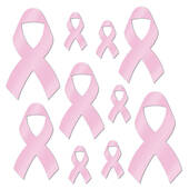 Foil Pink Ribbon Cutouts