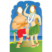 Hawaiian Couple Stand In Lifesized Standup