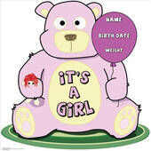Its A Girl Teddy Bear Lifesized Standup