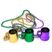 Mardi Gras Beer Mug Bead Necklaces