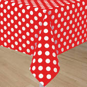 Red Plastic Table Cover With White Polka Dots - Rectangle